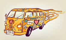 Hippie Car, Mini Van. Isolated Object. Psychedelic Print Concept.