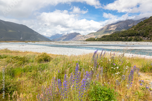 riverbed landscape scenery Arthur's pass in south New Zealand Canvas Print