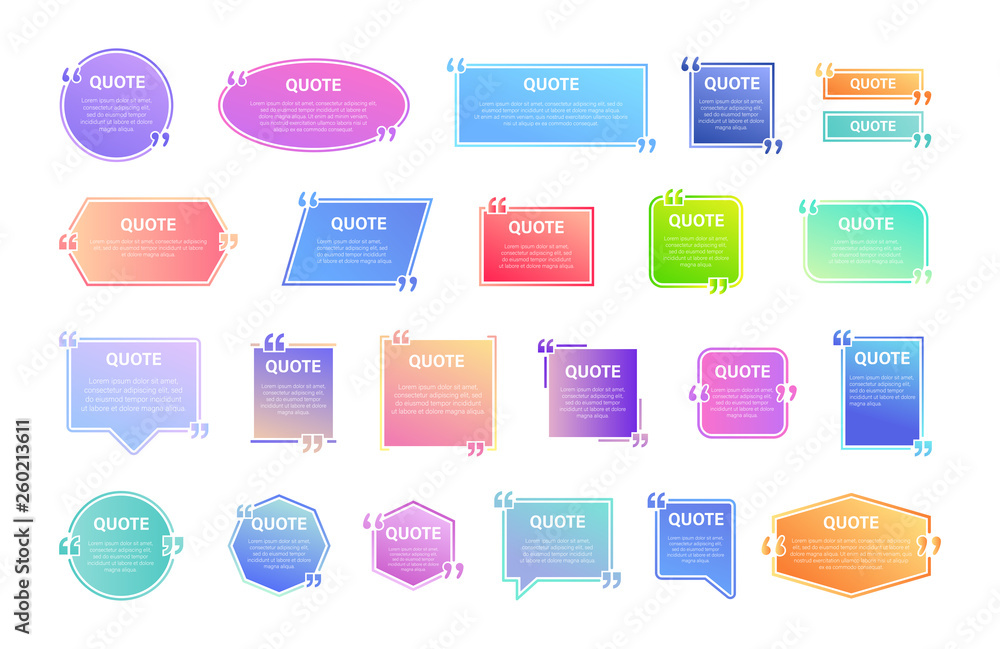 Fototapety, obrazy: Quote box frame, big set. Texting quote boxes. Colored gradient blank template quote text info design boxes quotation bubble blog quotes symbols. Creative vector banner illustration.