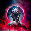 canvas print picture The death trooper / 3D illustration of science fiction scene showing evil skull faced astronaut space marine soldier with laser pulse rifle rising above moon