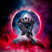 The Death Trooper / 3D Illustration Of Science Fiction Scene Showing Evil Skull Faced Astronaut Space Marine Soldier With Laser Pulse Rifle Rising Above Moon