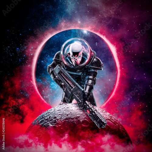Photo  The death trooper / 3D illustration of science fiction scene showing evil skull