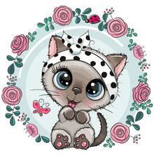 Greeting Card Cute Kitten With...