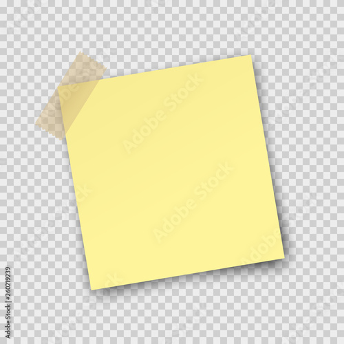Fotografía  Post note paper sticker isolated on transparent background