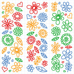Vector set of child drawing flowers icons in doodle style. Painted, drawn with a pen, on a sheet of checkered paper on a white background.
