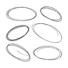 Hand-drawn Ovals Set. Vector Illustration On White Background.