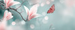 Leinwandbild Motiv Mysterious spring background with pink magnolia flowers and flying butterfly. Magnificent floral banner.