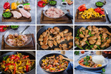 Step by step recipe kitchen menu. Chicken with vegetables. Thai meat. Azian Thai Food Concept.