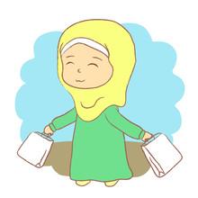 Cute Muslim Girl With Shopping...