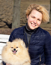Pomeranian Spitz Dog And Happy Girl Smiling, Blonde Woman Walking With Her Puppy