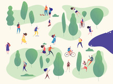 People In Park. Families In Outdoor Activities On Picnic. Man, Woman Kids With Smartphones Riding Bike Skateboard. Vector Concept. Illustration Of Activity Park, Man And Woman Walk