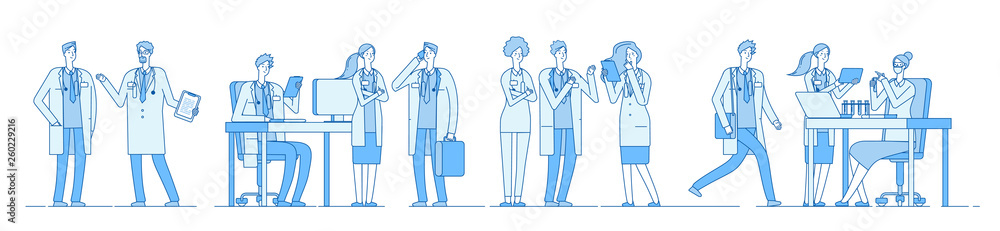 Fototapeta Doctor characters. Doctors talking meeting working on computer laptop. Medical people hospital. Medical education line vector concept. Medical character doctor and physician illustration