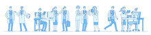 Doctor Characters. Doctors Talking Meeting Working On Computer Laptop. Medical People Hospital. Medical Education Line Vector Concept. Medical Character Doctor And Physician Illustration