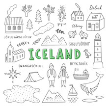 Iceland Hand Drawn Icons And Symbols On White Background. Hand Drawn Outline Vector Travel Elements About Iceland