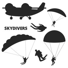 Airplane And Skydivers Vector Silhouettes Isolated On White Background. Skydiving And Airplane, Parachutist Flight Black Silhouette Illustration