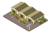 Military Base With Soldiers And Military Cars Isometric Vector Concept. Illustration Of Isometry Infantry And Army Transport