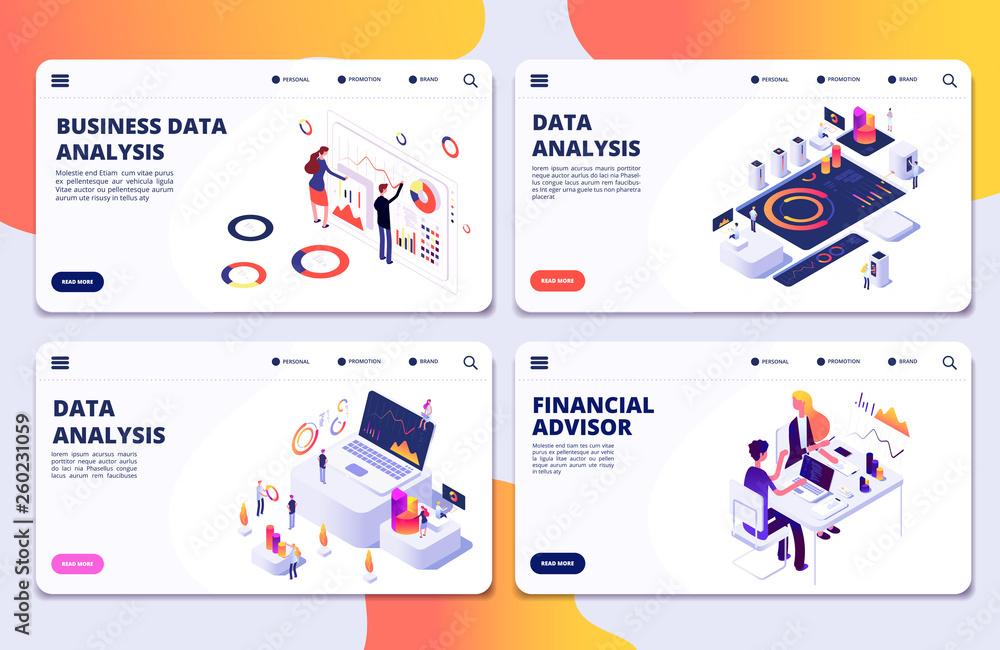 Fototapeta Data analysis, financial adviser, business data analysis vector landing pages template. Illustration of business financial management, analysis data