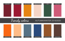 Trendy Colors Palette. Autumn / Winter 2019/2020. Fabric Pieces. Vector Illustration.