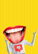 Leinwandbild Motiv Happiness. Female body with the big mouth, red lips and white teeth as a head against yellow background. Modern design. Contemporary art collage. Concept of emotions, social media or feelings.