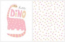 Cute Pink Hand Drawn Dinosaur ...