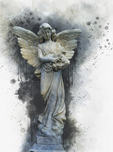 Antique Statue Of Angel In Wat...