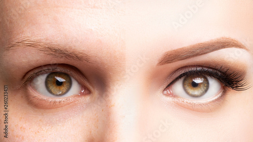 Canvas Print Female eyes before and after beautiful makeup, eyelash extension, eyebrow liner,