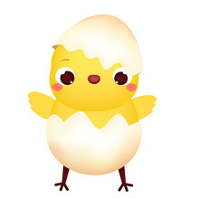 Happy Cartoon Chicken In Egg. Cute Easter Chick Character. Isolated Vector Clip Art