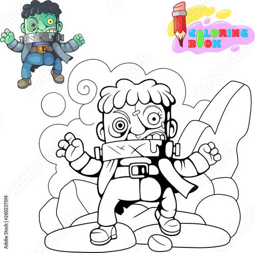 Photo  cartoon, scary, monster frankenstein, funny cute illustration