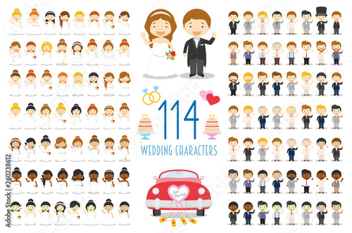 Valokuvatapetti Set of 114 wedding characters and nuptial icons in cartoon style