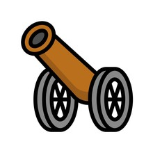 Cannon Vector Illustration, Ramadan Related Filled Icon