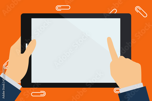Fotografía  Businessman Hand Holding, Pointing and Touching Colorful Tablet Blank Screen Cop