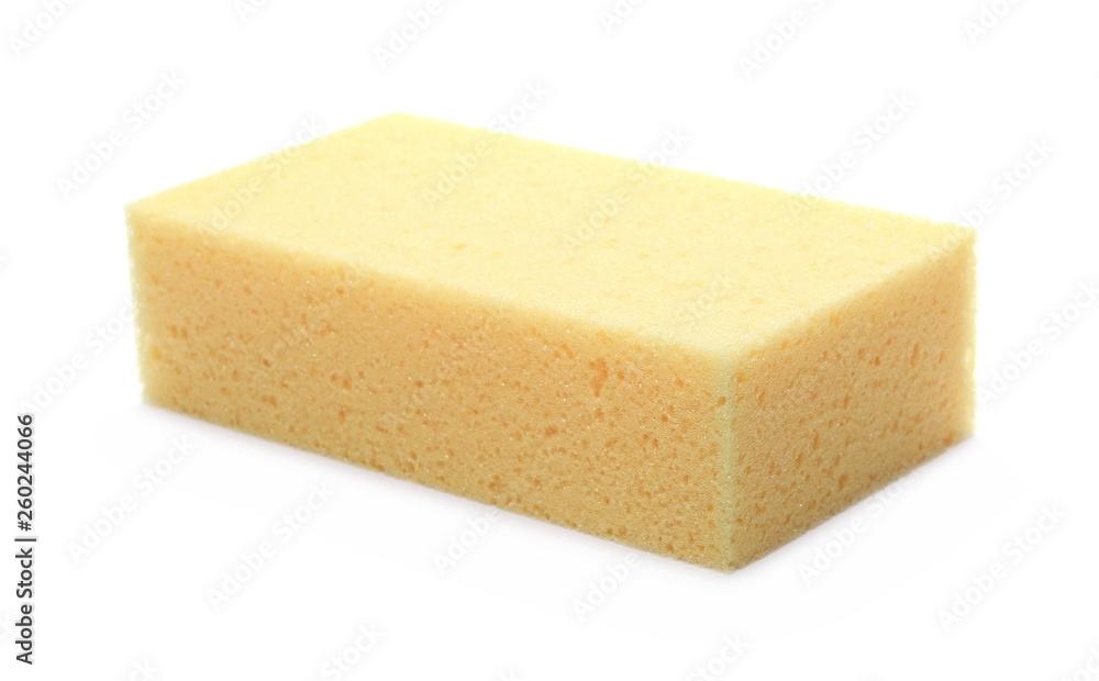 Fototapeta Yellow sponge for cleaning isolated on white background