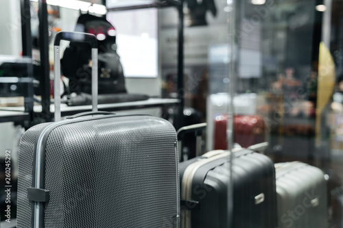 Fotografie, Obraz  Big gray stylish suitcase in the shop window