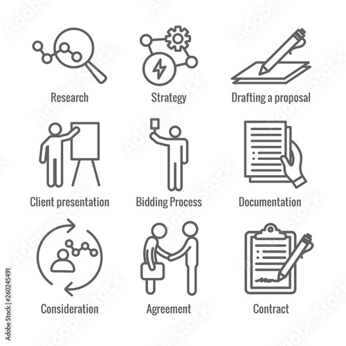 New Business Process Icon Set with Bidding Process, Proposal, Contract Canvas Print