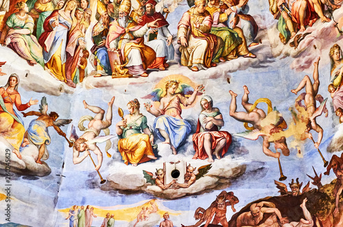 fresco painted by Giorgio Vasari in the dome of the cathedral of Florence, Italy Canvas Print