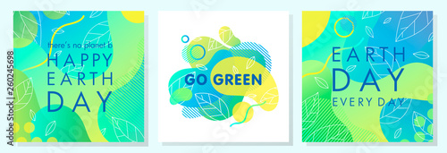 Photographie Set of Earth Day posters with bright gradient backgrounds,liquid shapes,tiny leaves and geometric elements