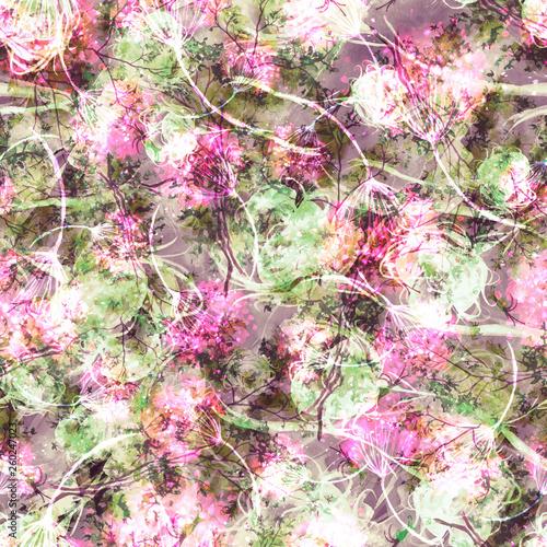 Vintage seamless watercolor pattern of plants  Herbs