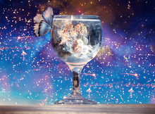 Artistic 3d Rendering Illustration Of A Butterfly On A Cup Of Water In A Unique Sparkly Background
