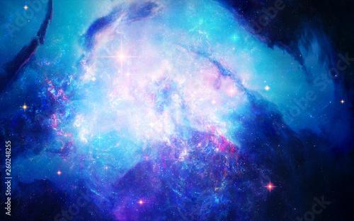 Creative Abstract Artistic Multicolored Bright Nebula Galaxy Background
