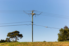 Suburban Telephone Pylon Connecting People Across Long Distances.