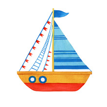Stylized Children Yellow Boat With Blue Sail. Watercolor Hand Drawn Painting Illustration, Isolated On A White Background.