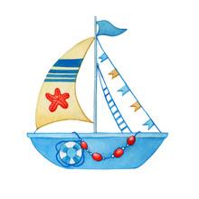 Stylized Children Blue Boat Wi...