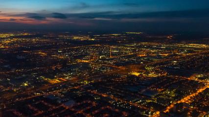 Toronto, Canada, city lights aerial view