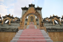 Sandstone Pagoda In Pa Kung Temple At Roi Et Of Thailand