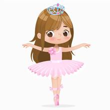 Cute Child Girl Ballerina Dancing Isolated. Caucasian Ballet Dancer Princess Character Jump Motion. Elegant Child Wear Pink Tutu For School. Brunette Doll Concept Flat Cartoon Vector Illustration