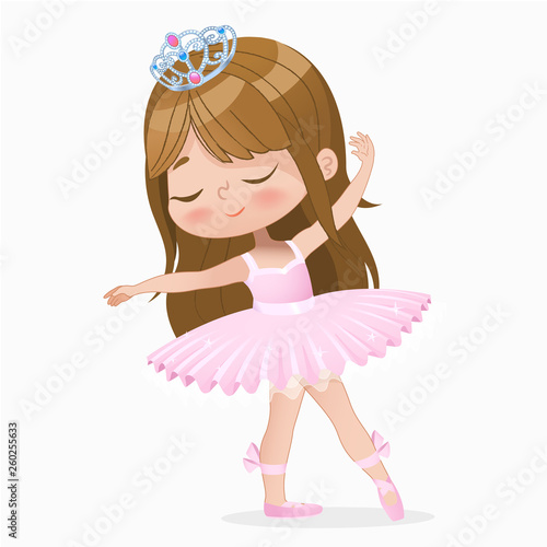 Tablou Canvas Cute Small Brown Hair Girl Ballerina Dance Isolated