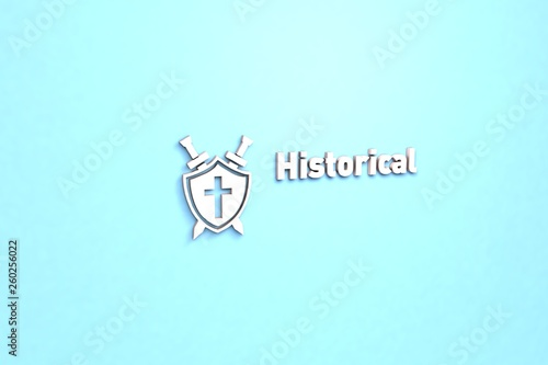 Foto  Illustration of Historical with pink text on blue background