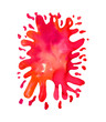 Watercolor bright red paint blot isolated on white