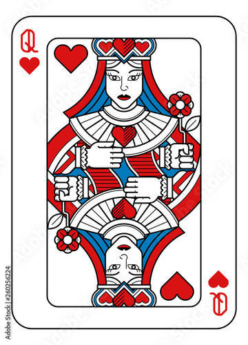 Fototapeta A playing card Queen of hearts in red, blue and black from a new modern original complete full deck design. Standard poker size. obraz