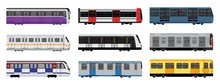 Subway Train Icons Set. Cartoo...